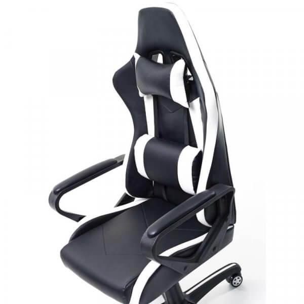 Poltrona gaming bianco-nera con braccioli