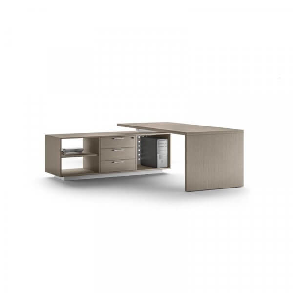 Scrivania About-Office profondità 90cm fianco legno con mobile