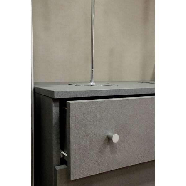 Dettaglio cassettiera grigia