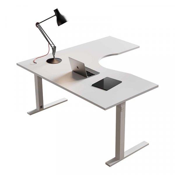 Scrivania angolare About-Office gamba T quadra piano sagomato