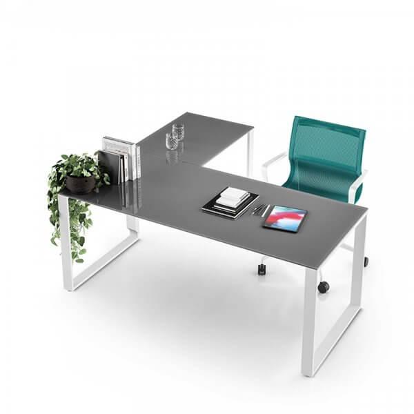 Scrivania in vetro angolare operativa gamba ad anello About Office