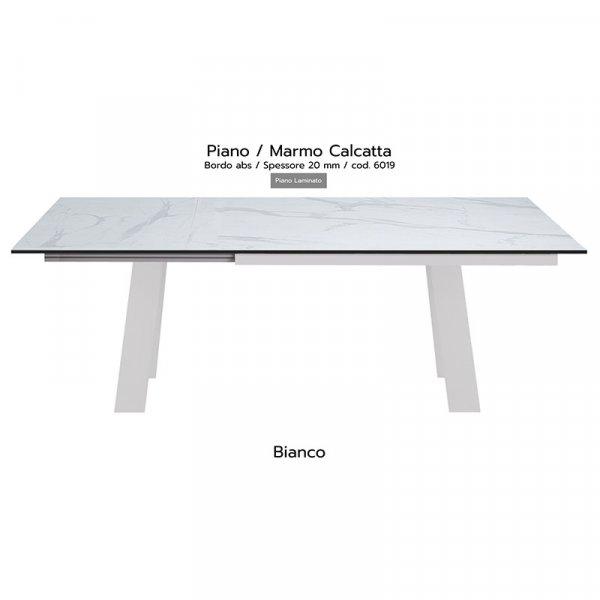 Tavolo Akita piano marmo calcatta 20mm gambe bianche copia