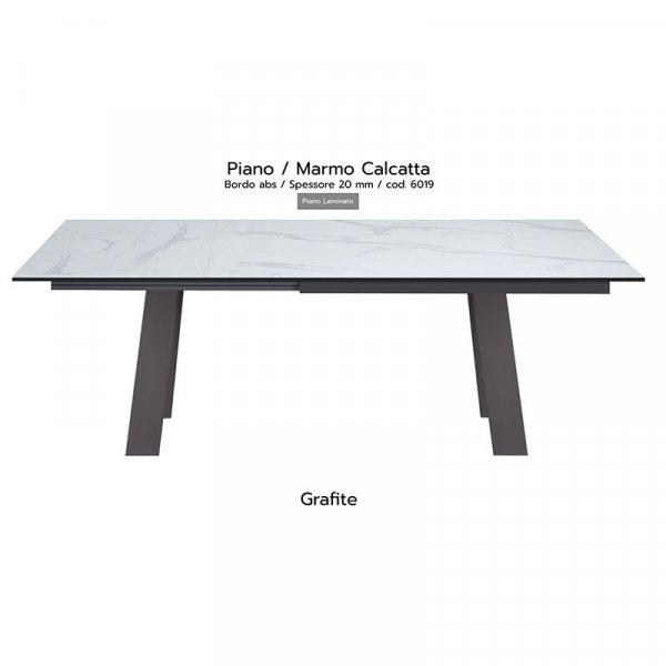 Tavolo Akita piano marmo calcatta 20mm gambe grafite