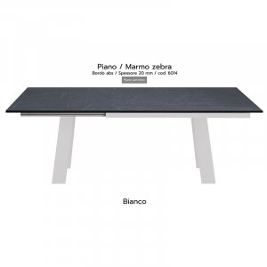 Tavolo Akita piano marmo zebra 20mm gambe bianche
