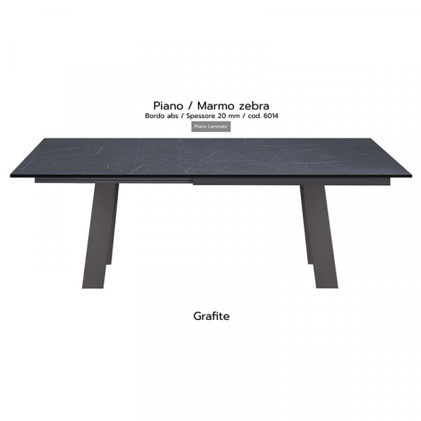 Tavolo Akita piano marmo zebra 20mm gambe grafite