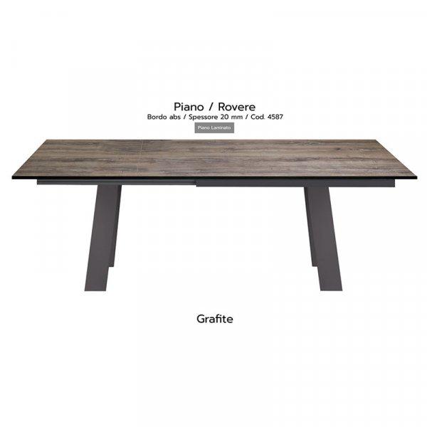 Tavolo Akita piano rovere 20mm gambe grafite
