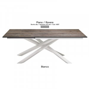 Tavolo Infinity piano Rovere 20mm gambe bianche