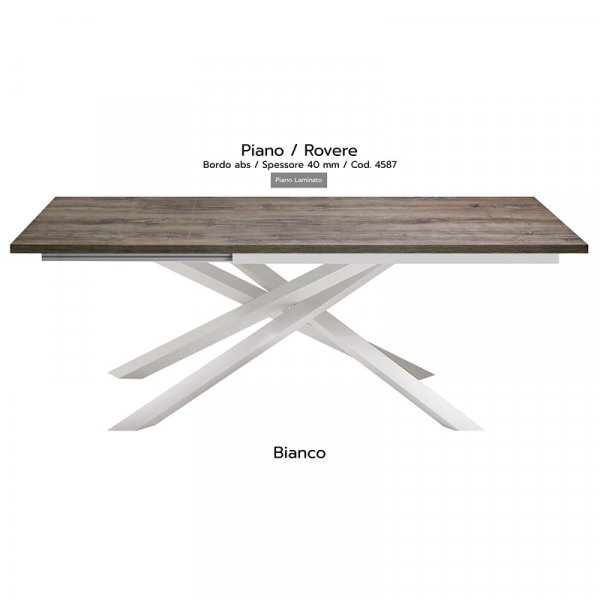 Tavolo Infinity piano Rovere 40mm gambe bianche