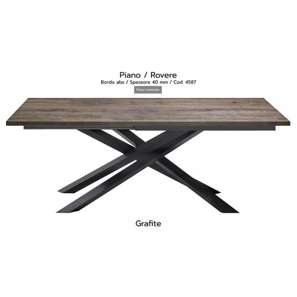 Tavolo Infinity piano Rovere 40mm gambe grafite