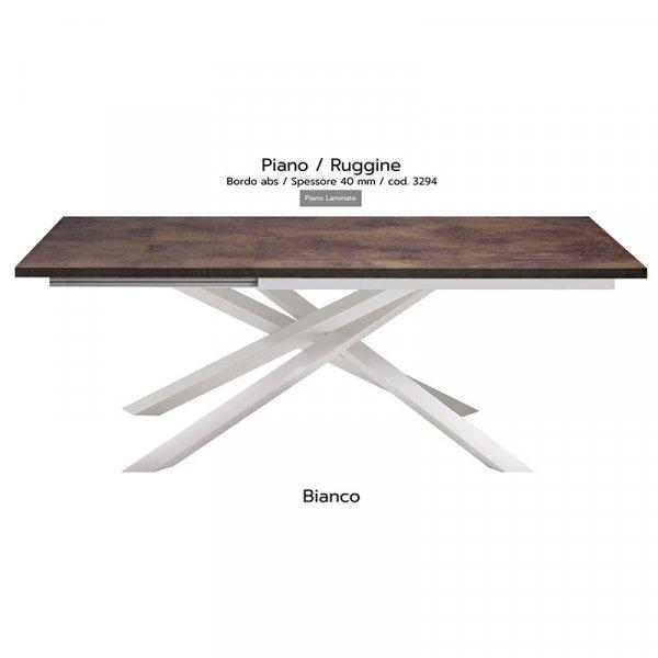 Tavolo Infinity piano Ruggine 40mm gambe bianche