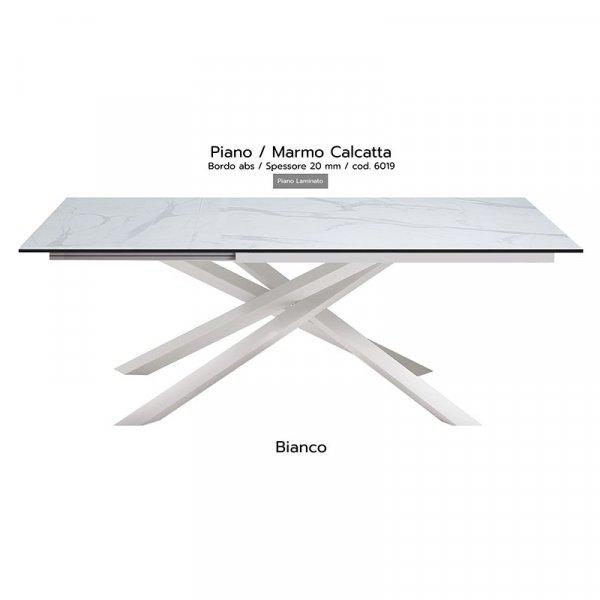 Tavolo Infinity piano marmo calcatta 20mm gambe bianche