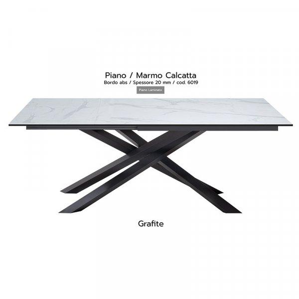 Tavolo Infinity piano marmo calcatta 20mm gambe grafite