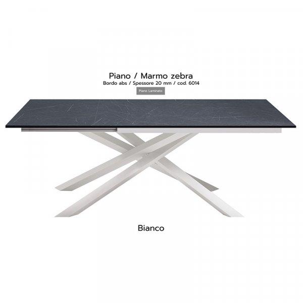 Tavolo Infinity piano marmo zebra 20mm gambe bianche