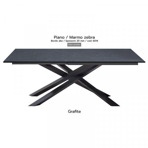 Tavolo Infinity piano marmo zebra 20mm gambe grafite