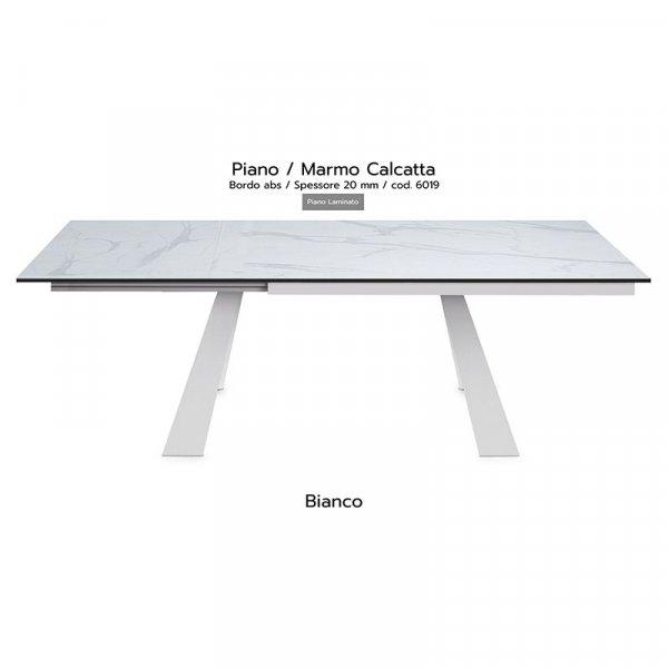Tavolo Krea piano marmo calcatta 20mm gambe bianche