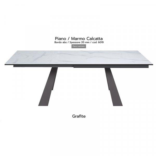 Tavolo Krea piano marmo calcatta 20mm gambe grafite