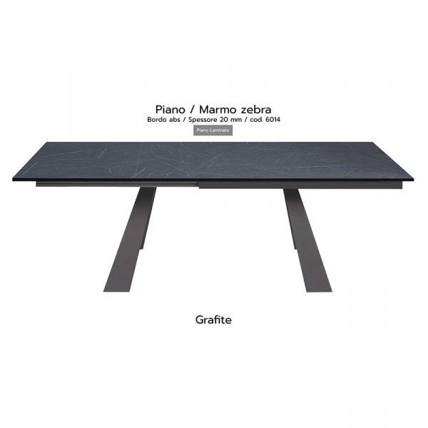 Tavolo Krea piano marmo zebra 20mm gambe grafite