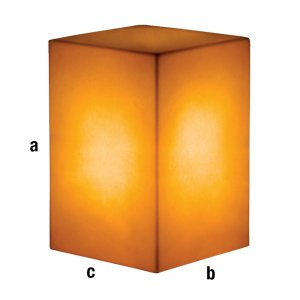 Cubo espositore illuminato dorato 40x40x60cm