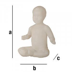 Manichino neonato seduto con testa scolpita
