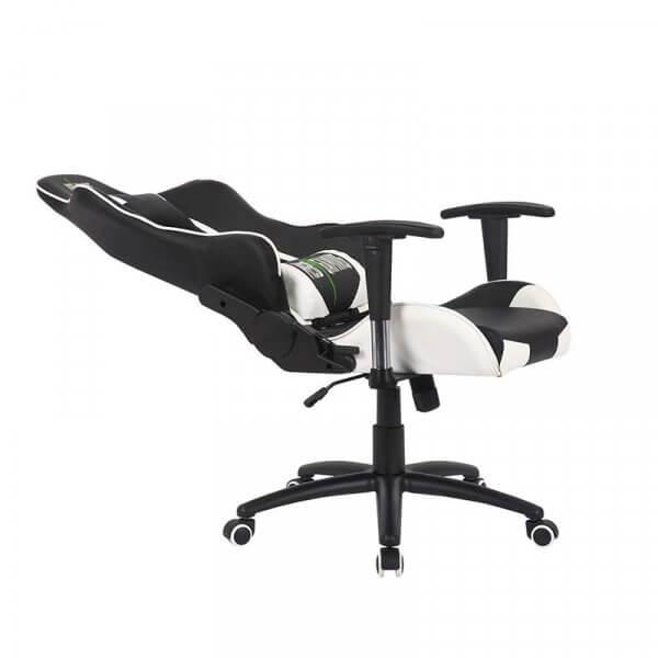 Sedia da Gaming MB bianco-nera reclinata