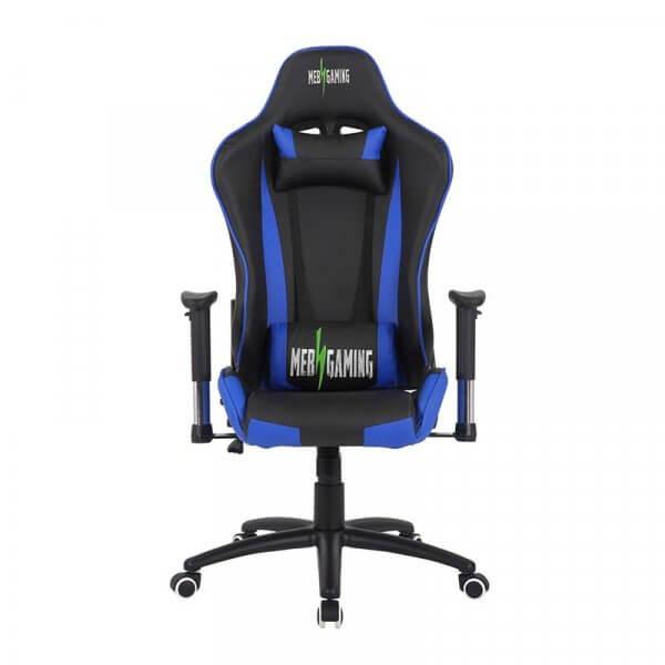 Sedia da gaming regolabile MB Blu nera fronte