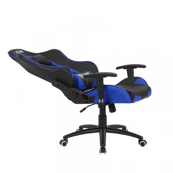 Sedia da gaming regolabile MB Blu nera reclinata