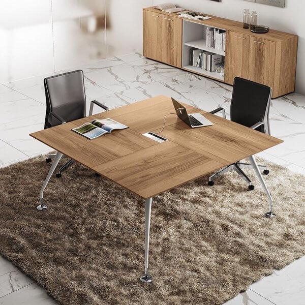 Tavolo riunioni quadrato piano legno ENOSI EVO LAS