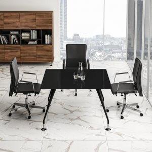 Tavolo riunioni quadrato piano vetro ENOSI EVO LAS