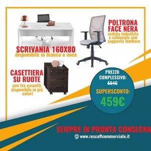 kit scrivania, cassettiera e poltrona
